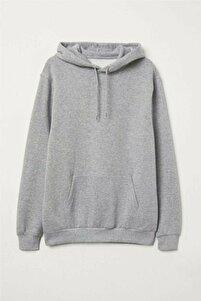 Unisex Gri Kapüşonlu Kangru Cep Oversize Sweatshirt