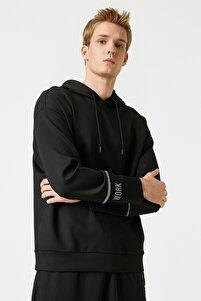 Erkek Siyah Kapüsonlu Kol Detayli Sweatshirt