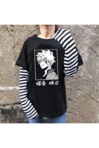 Anime My Hero Academia Çizgili T-shirt