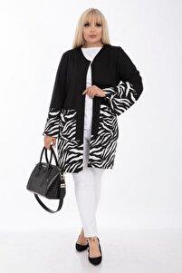 Kadın Siyah Zebra Desen Büyük Beden Ceket