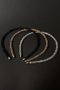 Kadın Siyah Altın Ve Gümüş Renk Kristal 3'lü Işıltılı Günlük Kullanıma Uygun Taç Seti