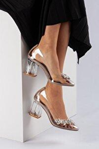 Kadın Ten Şeffaf Taş Detaylı Topuklu Ayakkabı