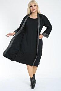 Kadın Büyük Beden Siyah Uzun Bluz Hırka Takım
