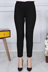 Siyah Kemerli Dar Paça Kumaş Pantolon Likralı Cepsiz G011