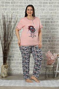 Kısa Kol Battal Beden Pijama Takım Pembe