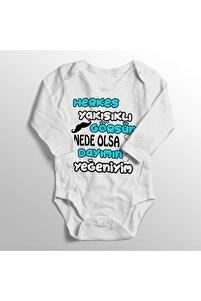 Unisex Bebek Beyaz Herkes Yakışıklı Görsün Nede Olsa Dayımın Yeğeniyim Baskılı Zıbını