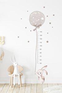Füme Renk Balonlu Tavşan Boy Ölçer Duvar Sticker Seti