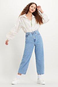 Kadın Yüksek Bel Balon Leg Jean