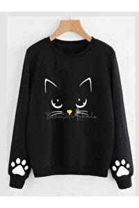 Yeni Model Kadın Siyah Cat Iki Iplik Sweatshırt
