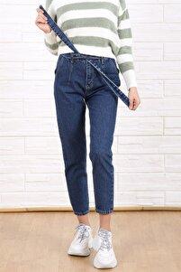 Kadın Koyu Mavi Kuşaklı Mom Model Boru Paça Yüksek Bel Jean Pantolon