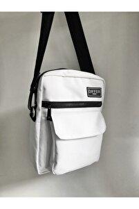 Unisex Beyaz Omuz Ve Çapraz Askılı Çanta