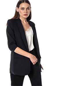 Kolu Büzgülü Siyah Blazer Kadın Ceket