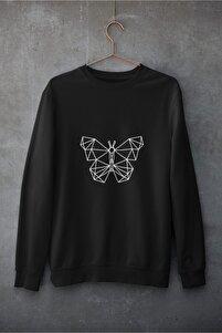 Unisex Siyah Kelebek Pamuklu Bisiklet Yaka Sweatshirt