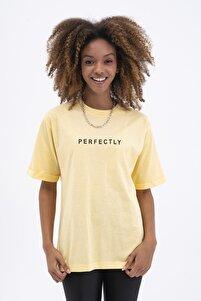 Kadın Sarı Oversize Tişört