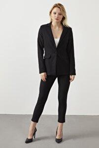 Kadın Siyah Blazer Ceket Pantolon İkili Takım