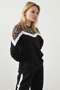 Kadın Siyah Kahverengi  Leopar Garnili Şerit Detay Ikili Takım