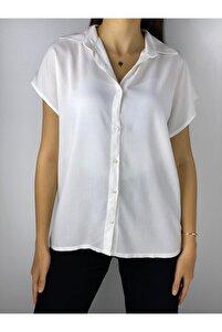 Kadın Ekru Viscon Basic Gömlek