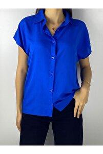 Kadın Indigo Viscon Basic Gömlek