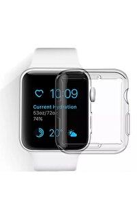 Apple Watch 1 2 3 4 5 6 Se Serisi ( 40mm ) 360 Tam Koruma Şeffaf Silikon Kılıf Premium Model