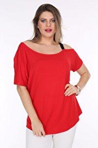 Kadın Büyük Beden Kırmızı Tek Omuz Bluz