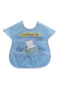 Renkli Baskılı Boyundan Cırtlı Sıvı Geçirmez Cepli Polyester Kız Ve Erkek Bebek Mama Önlüğü