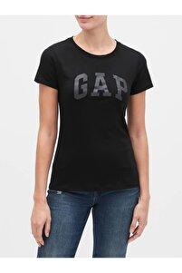 Kadın Siyah Logo Kısa Kollu T-shirt