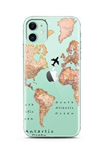 Iphone 11 Uyumlu Transparan Harita Tasarım Süper Şeffaf Silikon Telefon Kılıfı