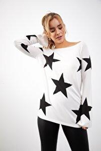 Kadın  Yeni Model Kayık Yaka Yıldız Baskılı Bluz