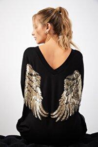 Kadın Siyah Önü Arkası V Yaka Gold Payetli Angel Sweatshirt