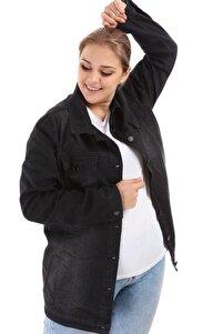Kadın Siyah Cep Detay Kot Ceket