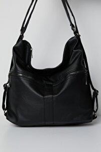 Kadın Siyah Çok Gözlü Yıkama Kumaştan Kol Ve Sırt Kullanışlı Çanta