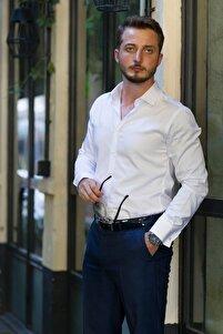 Erkek Beyaz İthal Saten Slimfit Gömlek