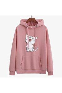 Yeni Model Kapşonlu Şardonlu Kedi Baskılı Sweatshırt (pembe)