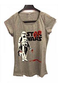 Kadın Gri Star Wars Girl Kesim T-shirt