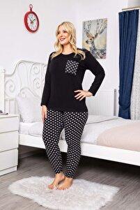 Kadın Siyah Renkli Desenli Uzun Kollu Battal Beden Pijama Takımı 16074