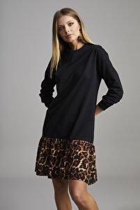 Kadın Siyah Eteği Leopar Desen Spor Elbise