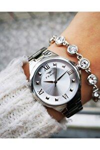 Yeni Sezon Çelik Şık Bayan Saati Bileklik Hediyeli