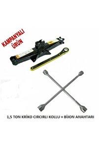 Oto Krikosu 1.5 Ton Makas Cırcır Araç Kriko + Bijon Anahtarı
