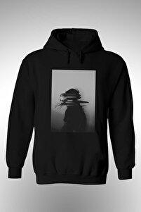 Unisex Siyah Kimliksiz Baskılı Kapüşonlu Sweatshirt