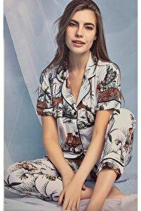 Kadın Kısa Kollu Beyaz Leopar Desen Düğmeli Organik Pamuk Pijama Takımı