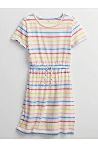 Kadın Sarı Kısa Kollu Çizgili Elbise