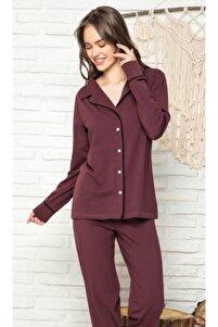 Mürdüm Siyah Biyeli Düğmeli Pijama Takımı