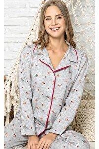 Yeni Yıl Ren Geyikli Gri Düğmeli Pijama Takımı