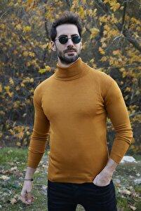 Erkek Hardal Sarısı Balıkçı Yaka Slim Fit Triko Kazak 549T006