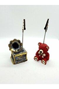 2 Adet Retro Gramafon Ve Ayıcık Not Tututu Notluk