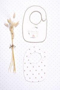 Turuncu Beyaz %100 Pamuk Desenli Bebek Mama Önlüğü 2'li