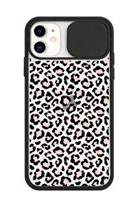 Iphone 11 Slayt Kamera Lens Korumalı Leopar Tasarımlı Siyah Telefon Kılıfı