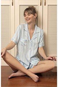 Kadın Kısa Kollu Bebe Mavi Çizgili Düğmeli Organik Pamuk Şortlu Pijama Takımı