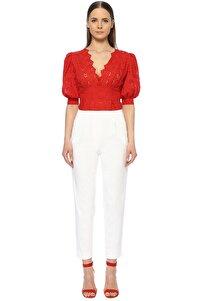 Kadın Slim Fit Beyaz Pantolon 1073865