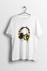 Dj Headphone Mirror Beyaz Baskılı Tişört